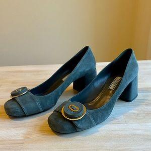 Prada Suede Button Block Heel Pumps Grey Blue